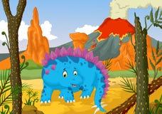 Funny stegosaurus cartoon with forest landscape background. Illustration of funny stegosaurus cartoon with forest landscape background Royalty Free Stock Photos