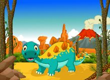Funny stegosaurus cartoon with volcano landscape background Royalty Free Stock Image
