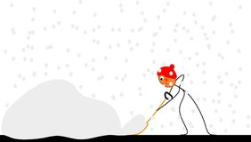 Funny stick figure pushes snow. Funny stick figure with a red cap pushes snow Royalty Free Illustration