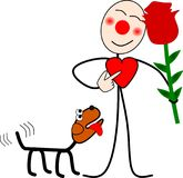 Funny stick figure with a rose in his hand for valentines day. Illustration of a funny stick figure with a rose in his hand for valentines day Vector Illustration