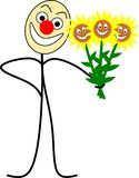 Funny stick figure with flowers. Funny stick figures holding flowers in his hand Vector Illustration
