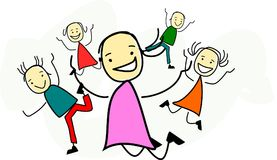 Happy children are jumping in the air. Funny stick figures are jumping in the air Vector Illustration