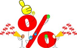 Funny stick figures make advertising. For special offers Vector Illustration