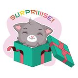 Funny sticker with cute gray cat - surprise party. Funny sticker with cute gray cat - surprise royalty free illustration