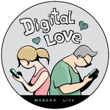 Funny Sticker `Digital Love in Modern Life`. Man and Woman Sitting Together but Watching to their Smartphones. Vector Illustration Royalty Free Stock Photography