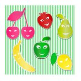 Funny stickers of fruits Stock Images