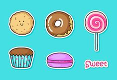 Funny stickers with sweets. Royalty Free Stock Images
