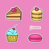 Funny stickers with sweets. Stock Photo