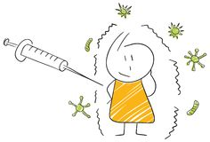 Funny stickman illustration flu vaccination shot patient. Vector isolated cartoon illustration Royalty Free Stock Images