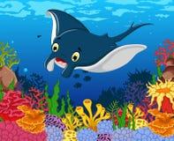 Funny stingray cartoon with beauty sea life background Royalty Free Stock Image