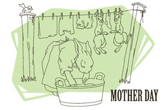Funny stock illustration. Mother rabbit washes clothes and children's rabbits Stock Image