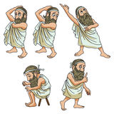 Funny stock illustration. A wise man in different poses Royalty Free Stock Photos
