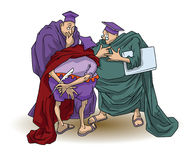 Funny stock illustration. Wise men argue and discuss Stock Photography