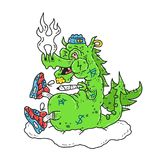 Funny stoned dope dragon smoke. Marijuana blunt. Vector modern style illustration. Dope print design for t-shirt Royalty Free Stock Photography
