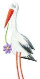 Funny stork. Acrylic illustration of funny stork Royalty Free Stock Photo