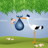 Funny stork with baby boy Stock Photography