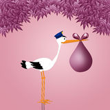 Funny stork with baby girl Stock Photos