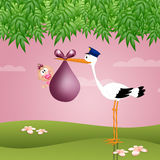 Funny stork with baby girl Royalty Free Stock Photo