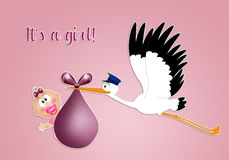 Funny stork with baby girl Stock Images