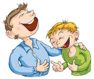 Funny Story. Father told a funny story to his son Royalty Free Stock Photography