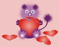 Funny strange beast with a heart Stock Images