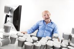 Funny and strange businessman at the office Stock Photo