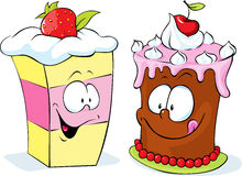 Funny strawberry and cherry cake - vector illustration  Stock Photo