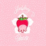 Funny Strawberry Milk illustration Stock Images