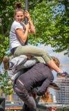 Funny street acrobatics Royalty Free Stock Photography