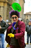 Funny street artist in Italy  Stock Images
