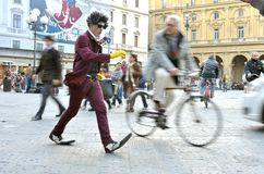 Funny street artist in Italy Royalty Free Stock Photography