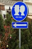 Funny street sign in Lviv Stock Image