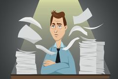 Funny stressed  cartoon character - office worker sitting. Behind the table with a lot of paperwork Royalty Free Stock Image