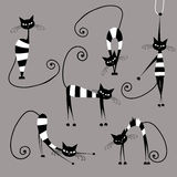 Funny striped cats, collection for your design Royalty Free Stock Images