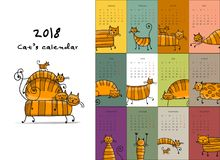 Funny striped cats. Design calendar 2018 stock image