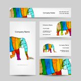 Funny striped elephant. Business card for your Royalty Free Stock Image