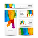 Funny striped elephant. Business card for your. Design. Vector illustration Royalty Free Stock Photos