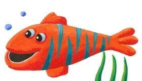 Funny striped fish. Acrylic illustration of Funny striped fish Stock Photo
