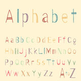 Funny striped hand drawn latin alphabet letters. In childish style. Colorful vector ABC with strokes for cards and media Royalty Free Stock Image