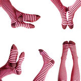 Funny striped socks Stock Photos