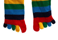 Funny striped socks with fingers isolated on white Stock Images