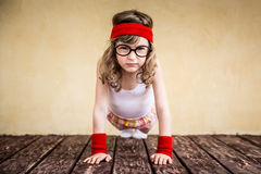 Funny strong child Stock Images