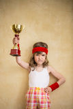 Funny strong child Stock Photo