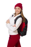 The funny student with backpack isolated on white Royalty Free Stock Image