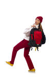 The funny student with backpack isolated on white Stock Photography