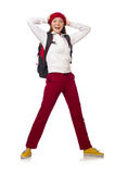 The funny student with backpack isolated on white Stock Photos