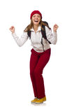 Funny student with backpack isolated on white Stock Photography