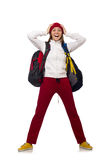 The funny student with backpack isolated on white Stock Image