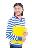 Funny student with books isolated Stock Photography