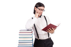 Funny student with books isolated Stock Images